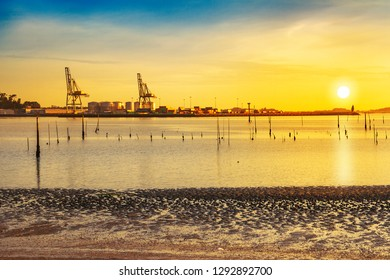 Vilagarcia de Arousa commercial harbor at sunset with the poles of clam aquaculture beds in Compostela beach