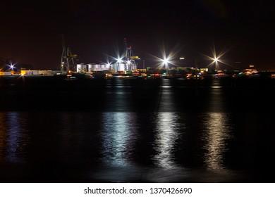 Vilagarcia de Arousa commercial harbor illuminated at night