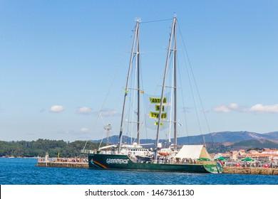 Vilagarcia de Arousa, Spain-July,28,2019: Rainbow Warrior, Greenpeace ship, moored in Vilagarcvia de Arousa habor
