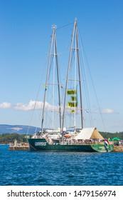 Vilagarcia de Arousa, Spain-July,28,2019: Rainbow Warrior, flagship of Greenpeace environmental organization, moored on Vilagarcia de Arousa commerciar harbor