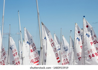 Vilagarcia de Arousa, Spain-July,28,2019: Sails in the wind during the 2019 European junior championship in Vilagarcia de Arousa harbor