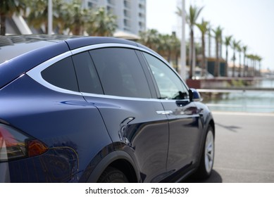 Vilamoura, Portugal - June 23, 2017: The new Tesla Model X and S on display. Tesla, Inc. is an American automaker, energy storage company, and solar panel manufacturer based in Palo Alto, California.