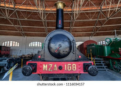 VILANOVA I LA GELTRU,SPAIN-FEBRUARY 6,2013: Railway museum trains in Vilanova i la Geltru, province Barcelona, Catalonia.