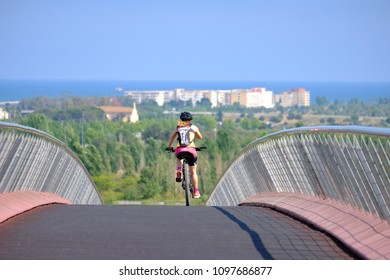 Vilaseca, Tarragona, Spain - May 22, 2018: Modern bridge for pedestrians and cyclists to connect the city of Vilaseca with the coast in the province of Tarragona in Catalonia Spain