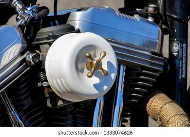 Vilassar de Dalt/Spain; 03 02 2019: Motorcycles of Harley Davidson in Vilassar de Dalt