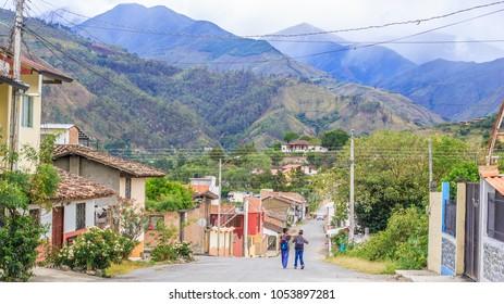 VILCABAMBA,LOJA,ECUADOR,  CIRCA JANUARY 2016  Village street circa  Jan 2016 in Vilcabamba Ecuador. Located in the Valley of Longevity, this Ecuadorian village promotes a healthy lifestyle.