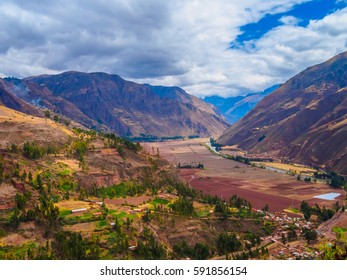 Vilcanota river viewed from Pisac ruins, Sacred Valley