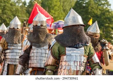 Vileyka, Belarus - July 4: Historical medieval festival honor ancestors knight fight2015