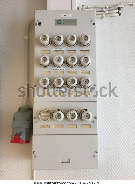 Viljla Finland June 30 2018 Electricity Stock Photo ... on outdated fuse box, old time electrical fuse, 100 amp electrical box, old electrical breaker box, old breaker box fuses, old electrical circuit box, old electrical light box, old fuse panel, old electrical panel box, murray fuse box,