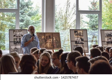 Vilkaviskis / Lithuania - September 22 2017: Jewish man reading lecture about Jewish people for pupils in school.