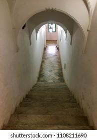 Villa Abdullatif, Algiers, Algeria - February 25, 2017: Old stairs inside the mansion.