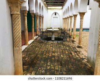 Villa Abdullatif, Algiers, Algeria - February 25, 2017: Fountain in the garden of the old mansion.