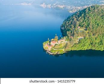 Villa Balbianello, Como lake, aerial photo