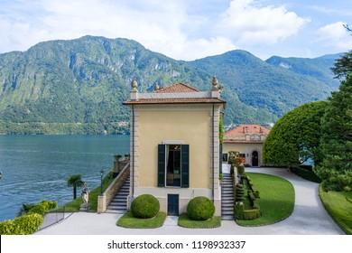 Villa Balbianello with mountains on background. Lake Como, Italy