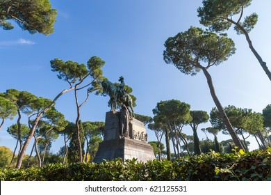 Villa Borghese in Rome, Italy. Monument to King Umberto I