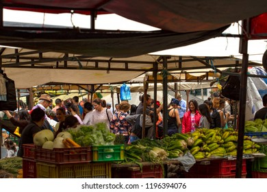 Villa de Leyva, Boyaca, Colombia - August 18, 2018: Escene of the traditional local marketplace of Villa de Leyva.