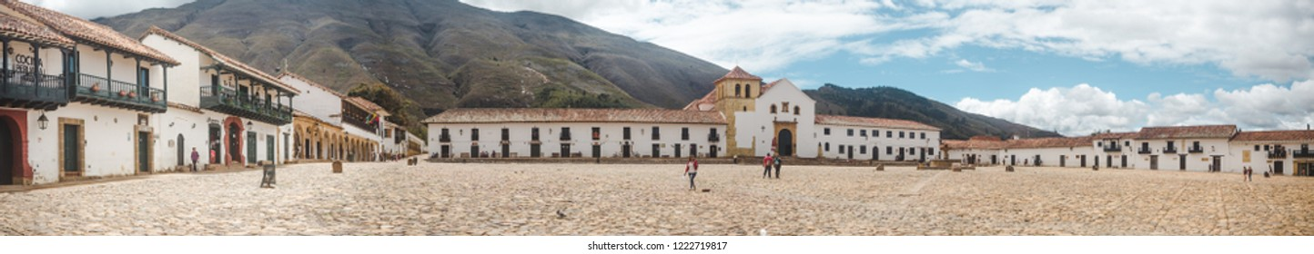 Villa de Leyva, Colombia - October 23rd 2018: Plaza Mayor, the main town square of Villa de Leyva, famous for its large expanse of cobbled space