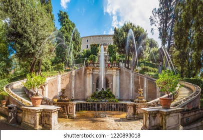 Villa D'Este, Italy - 2 September 2018 - The awesome old villa in Tivoli, province of Rome, with beautiful terraced hillside Renaissance garden and fountains. Now Italian state museum and UNESCO site