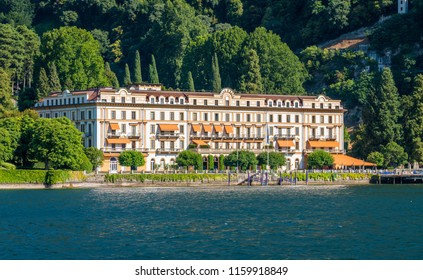 Villa d'Este on a sunny summer day, in Cernobbio, on Lake Como, Lombardy, Italy. July-24-2018