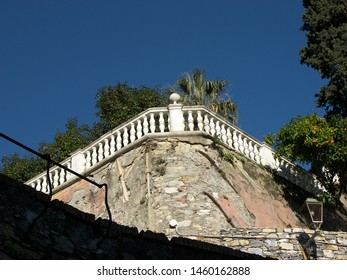 Villa Durazzo in Santa Margherita has a nice garden rich of plants of camellia. Santa Margherita is in Liguria, in Italy. A white banister is running around the park. The banister is made of marble.