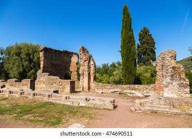 The villa of Emperor Hadrian in Tivoli, Italy. Ruins at the Golden Square. UNESCO list.