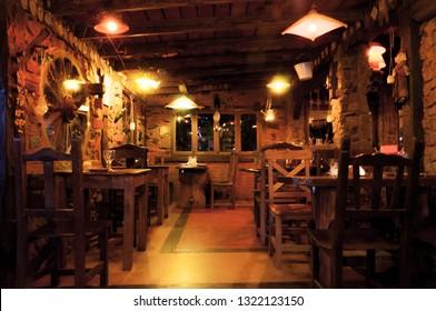 VILLA GESELL,ARGENTINA-MARCH 21, 2018: Interior of a beautiful and cozy irish pub