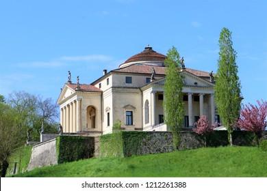 Villa La Rotonda, in Vicenza, Italy, in springtime. The Villa, build in the Renassaince