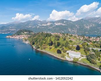 Villa Melzi and village of Bellagio. Como lake, Italy