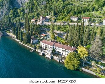 Villa Monastero, Varenna. Lake of Como, Italy. Aerial view