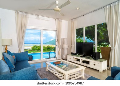 The villa is next to the sea with a beautiful living room decorated white and gray colors Koh Samui Surat thani Thailand 19th May 2017