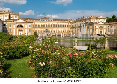 Villa reale at midday with rose garden, Monza, Italy