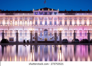 Villa reale reflected in the water, Monza, Italy
