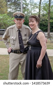 Villa Rica, GA / USA - April 13, 2019: Impersonator of Barney Fife and Thelma Lou from the Andy Griffith Show, an American Television Sitcom in 1960s.