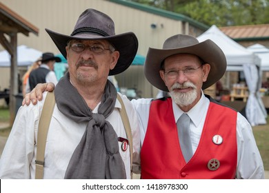 Villa Rica, GA / USA - April 13, 2019: Cowboy Festival 2019 at Pine Mountain Gold Museum. Cowboys from the old wild west, early pioneers dressed in 1800s clothes.