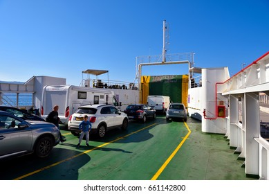 VILLA SAN GIOVANNI ITALY APRIL 23:Ferry for motor vehicles and people crossing the Strait of Messina- April 23 2017 Villa San Giovanni Italy