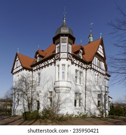 Villa Stahmer in Georgsmarienhuette, built in 1900 in the half-timbering style serves the city, of Georgsmarienhuette as a museum today, Lower Saxony, Germany