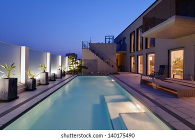 Villa with swimming pool night view-3