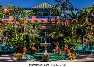 Villa of yves saint laurent in the majorelle garden in marrakech morocco