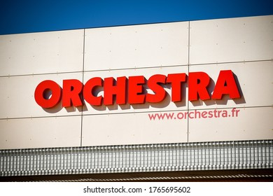 VILLABE - FRANCE - MAY 2020: orchestra signboard which is a famous child distributor in france
