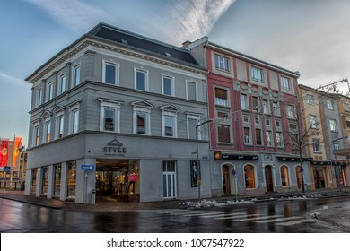 VILLACH, AUSTRIA, 05,01,2018 Streets of the central part of the city on an early winter morning