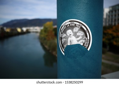 Villach, Austria -10-13-2019: A sticker -The greatest lie ever told- on a street lamp. The anti-vaccine movement is effectively reversing decades of progress in disease prevention.