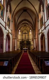 Villach, Austria, June 4th 2017: Photo of the interior of a church in Villach