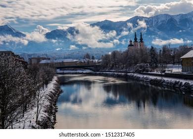 Villach in winter, snowy landscape. Carinthia.