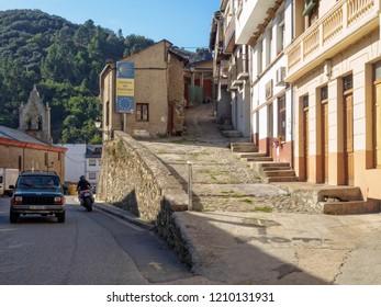 Villafranca del Bierzo, Castile and Leon, Spain - September 26, 2014: Alternative Camino routes: Camino Pradela (right), Camino Dragonte (left) andCamino Pereje (also left)