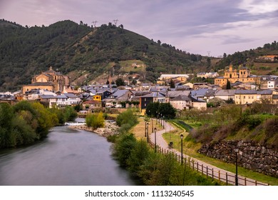 Villafranca del Bierzo lies at the foot of the Sierra de Ancares on the Way of St. James, the Rio Burbia and Valcarce rivers converge here, a panorama of the city.