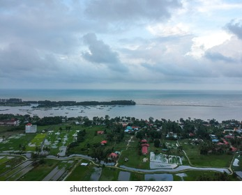village aerial landscape scenery with top and bird eye view during rain season