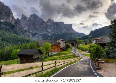 Village after rain on a cloudy summer day, Corvara in Badia, Alta Badia, Italy (Dolomites)