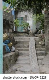 Village alleyway on Cat Ba Island, Vietnam