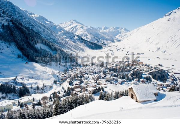 The village Andermatt in winter, Uri, Switzerland