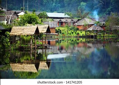 Village around the lake (North of Thailand)